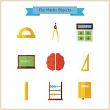 Flat School Maths and Physics Objects Set Royalty Free Stock Images