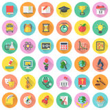 Flat school subjects icons with long shadows stock illustration