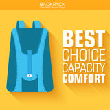 Flat schoolbag on the background with the slogan. Royalty Free Stock Photos