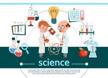 Flat Science Composition. With scientists laboratoty equipment tubes bulb magnifier note thermometer apple atom model scientific research isolated vector Royalty Free Stock Image