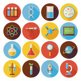Flat Science and Education Circle Icons Set with long Shadow. Flat Style Vector Illustrations. Back to School. Collection of Chemistry Biology Physics vector illustration