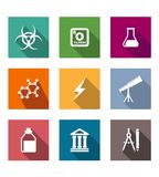 Flat science and education icons set. With flask, molecule, lightning, telescope, pharmaceutical, vial, temple, compass and pencil Royalty Free Stock Photos