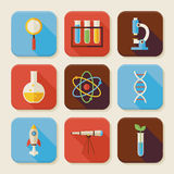 Flat Science and Education Squared App Icons Set Royalty Free Stock Image