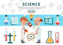 Flat Science Icons Set. With scientists in laboratory tubes bottles bulb thermometer scientific experiment atom model isolated vector illustration Royalty Free Stock Image