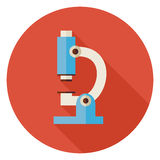 Flat Science and Medicine Laboratory Microscope Circle Icon with Stock Photos