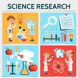 Flat Science Research Concept Royalty Free Stock Photos