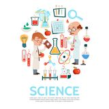 Flat Science Round Concept. With scientists chemical tubes bottles magnifier apple paper note bulb thermometer scientific experiment atom and molecule models Royalty Free Stock Image