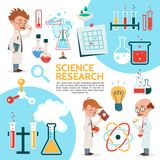 Flat Science Template. With scientific research experiments scientists flasks tubes bottles bulb magnifier note molecule and atom models isolated vector Stock Images