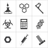 9 flat science vector icons. Vector illustration Royalty Free Stock Image
