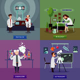 Flat Scientific Research Square Concept Royalty Free Stock Photography