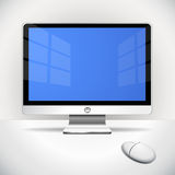 Flat screen. And mouse on the desktop with vignetting vector illustration