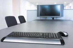 Flat screen in a board room stock photography