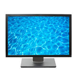 Flat screen HDTV TV. With water image on screen royalty free stock photos
