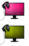 Flat screen with headphones Stock Photography