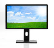 Flat screen with nature images Royalty Free Stock Photography