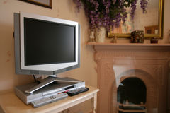 Flat screen tv. In a traditional setting stock photo