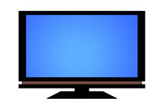 Flat screen tv. Large flat screen television on white background Royalty Free Stock Images