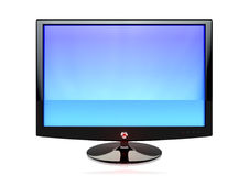 A flat screen TV. A modern flat screen television as seen from the front with a reflective screen Royalty Free Stock Images
