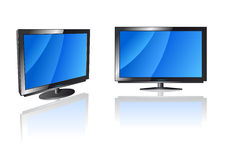 Flat screen TV. Vector illustration of LCD displays Stock Photo