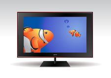Flat screen tv with fishes displayed on the screen Royalty Free Stock Photos