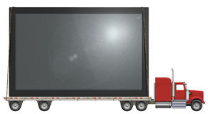 Flat Screen TV. Illustration of a flatbed truck carrying a flat screen television vector illustration