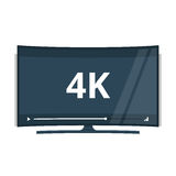 Flat screen tv with 4k Ultra HD video technology vector icon. Led television display with high definition digital tech symbol Royalty Free Stock Image