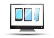 Flat screen tv with mobile phones Royalty Free Stock Photography