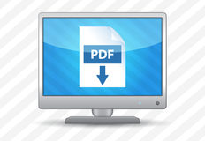 Flat screen tv with pdf download icon. On a striped background Royalty Free Stock Photo