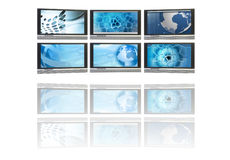 Flat screen TV's showing image of technology Stock Photography