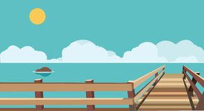 Flat sea with bridge. A fully editable and resizable vector, Illustrator EPS 10 file Stock Photo