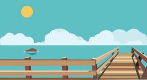 Flat sea with bridge Stock Photo