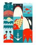 Flat Sea and Fish Rectangular Nautical Set Royalty Free Stock Photo