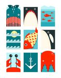 Flat Sea and Fish Rectangular Nautical Set Royalty Free Stock Images