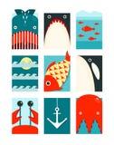 Flat Sea and Fish Rectangular Nautical Set. Marine design collection. Vector layered EPS8 illustration Royalty Free Stock Images