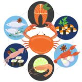 Flat Sea Food Concept Royalty Free Stock Photography