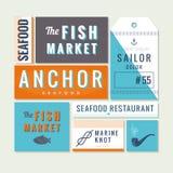 Flat sea food restaurant sign Stock Photo