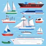Flat sea ships. Marine shipping sailing boat, ocean cruise liner and icebreaker ship vector set stock illustration