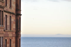 Sea view. Flat with sea view at Portobello beach nearby Edinburgh in the morning royalty free stock image