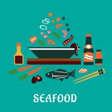 Flat seafood dish concept  with salad ingredients Royalty Free Stock Photography