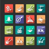 Flat seafood icons Stock Photo