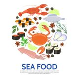 Flat Seafood Round Concept stock illustration