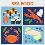 Flat Seafood Square Concept vector illustration