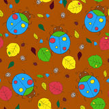 Flat seamless autumn pattern with insects, leaves and flowers Stock Photos
