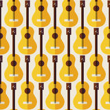Flat Seamless Background Pattern Music Instrument Guitar Royalty Free Stock Photography