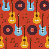 Flat Seamless Background Pattern Music Instrument Guitar Vinyl D Stock Image