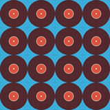 Flat Seamless Background Pattern Music Vinyl Disc over Blue Stock Images