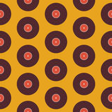 Flat Seamless Background Pattern Music Vinyl Disc over Yellow Stock Photo