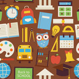 Flat Seamless Pattern Back to School and Education Objects over Stock Photography