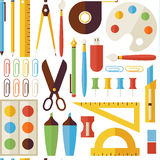 Flat Seamless Pattern Back to School Objects and Office Instrume Royalty Free Stock Photo