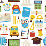 Flat Seamless Pattern Back to School Objects over White Stock Photography